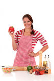 Woman kitchen vegetables Royalty Free Stock Photos