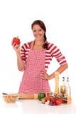 Woman kitchen vegetables Royalty Free Stock Photos