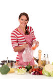 Woman kitchen vegetables Royalty Free Stock Images