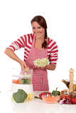 Woman kitchen vegetables Royalty Free Stock Photo