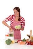 Woman kitchen vegetables Royalty Free Stock Photo