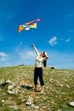 Woman with kite Royalty Free Stock Photos