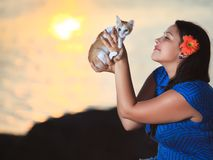 Woman and kitten Royalty Free Stock Photos