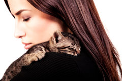 Woman and kitten Royalty Free Stock Images