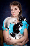 Woman and kitty Stock Photography