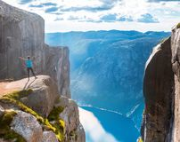 Woman on Kjeragbolten Travel in Norway Stock Images