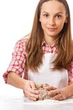 Woman knead rye dough Royalty Free Stock Photos