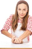 Woman knead rye dough Royalty Free Stock Images