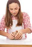 Woman knead rye dough Royalty Free Stock Photography
