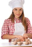 Woman knead rye dough Stock Photo