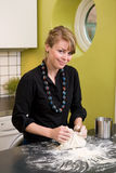 Woman Kneading Dough at Home Royalty Free Stock Photo