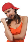 Woman with knife. Stock Images