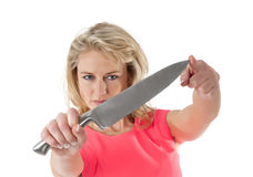 Woman with knife Royalty Free Stock Photos