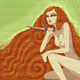 Woman with a knife. Young beautiful woman with long hair holding a knife. Ambush illustration Royalty Free Stock Images