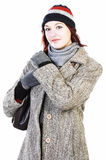 Woman in knit hat and coat Stock Photography