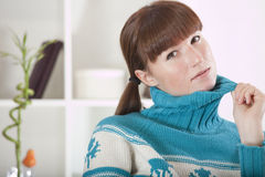 Woman in knit jumper Royalty Free Stock Photography
