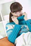 Woman in knit jumper Stock Photo