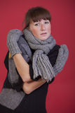Woman in knit winter jumper Royalty Free Stock Photo
