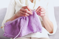 Woman knits Royalty Free Stock Photos