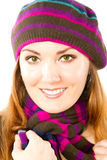 Woman in knitted  beret with bright make-up Stock Image