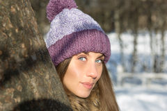 Woman in knitted cap Stock Photography