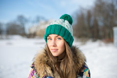 Woman in knitted cap Stock Photo