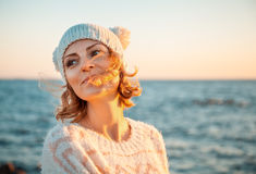 Woman in knitted clothes Royalty Free Stock Photo