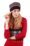 Woman in knitted had and dress Royalty Free Stock Photography