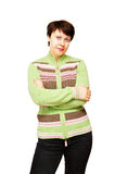 Woman in a knitted jacket Stock Photography