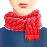 Woman Knitted Red Scarf Ad Print Royalty Free Stock Photography