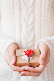 Woman in knitted sweater holding a present with toy firtree. Royalty Free Stock Images