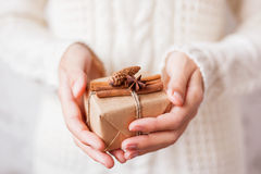 Woman in knitted sweater holding a present with vanilla pods. Royalty Free Stock Image
