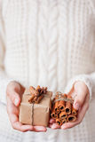Woman in knitted sweater holding a present with vanilla pods. Stock Photo