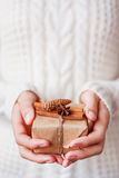 Woman in knitted sweater holding a present with vanilla pods. Stock Photography