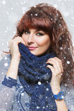 Woman with knitted wool scarf Royalty Free Stock Photo