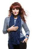 Woman with knitted wool scarf Stock Photo
