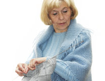 Woman knitting Royalty Free Stock Images