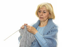 Woman knitting Royalty Free Stock Photos