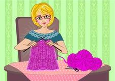 Woman knitting Royalty Free Stock Photos