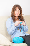 Woman knitting Royalty Free Stock Image