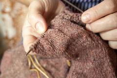 Woman knitting. close-up Stock Photos