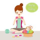 Woman Knitting Scarf Royalty Free Stock Images