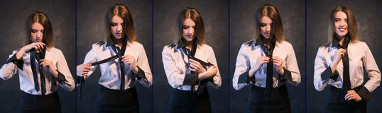 Woman knot tie helpful tutorial photo set process. Woman teachs or learns how to knot a tie. Set of photos showing process in detail. Helpful and detailed Royalty Free Stock Photo