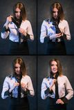 Woman knot tie helpful tutorial photo set process. Woman teachs or learns how to knot a tie. Set of photos showing process in detail. Helpful and detailed Royalty Free Stock Photos