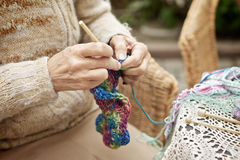 Woman Kntting Royalty Free Stock Images