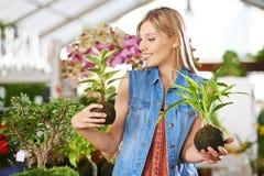 Woman with kokedama in garden center Royalty Free Stock Photos