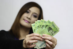Woman with korean money Stock Photos