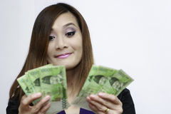 Woman with korean money Stock Photography