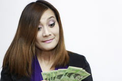 Woman with korean money Royalty Free Stock Image