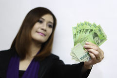 Woman with korean money Stock Photo